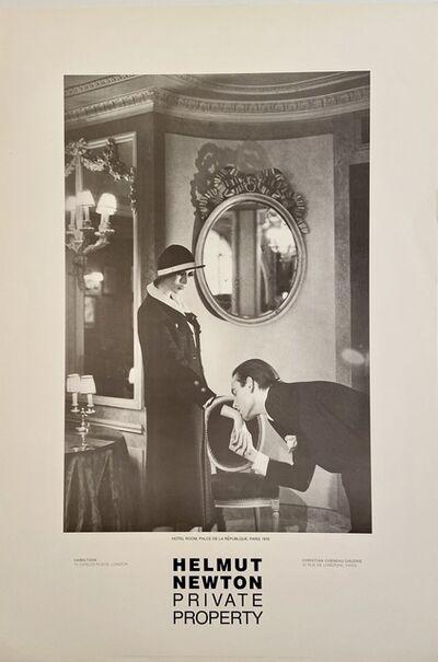 "Helmut Newton, 'Rare Limited Helmut Newton ""Private Property"" Gallery Lithographic Poster (features the photo ""Hotel Room. Place de la Republque, Paris"", 1976)', 1985"