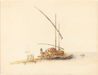 Johann Jacob Ulrich, 'Wine Barrels Loaded onto a Sailing Barge at Vevey', ca. 1850
