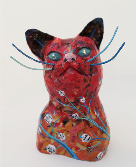 Yulia Shtern, 'Forest Cat - Playful Animal Sculpture in Red + Blue + Black', 2019