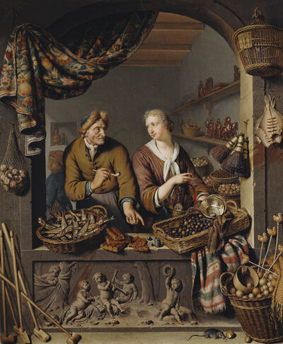 Willem van Mieris, 'An Old Man and a Girl at a Vegetable and Fish Stall', 1732