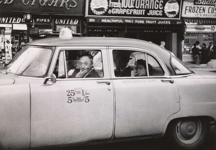 Diane Arbus, 'Taxicab driver at the wheel with two passengers, N.Y.C.', 1956