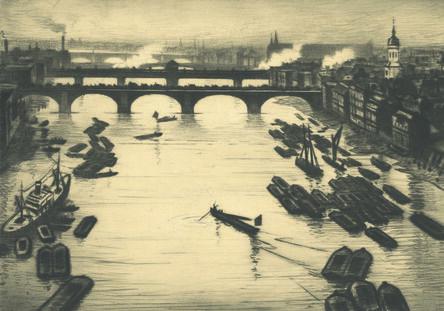 Christopher Richard Wynne Nevinson, 'London Bridges', ca. 1920