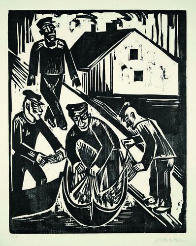 Max Pechstein, 'Fischer mit Fang im Netz', 1923