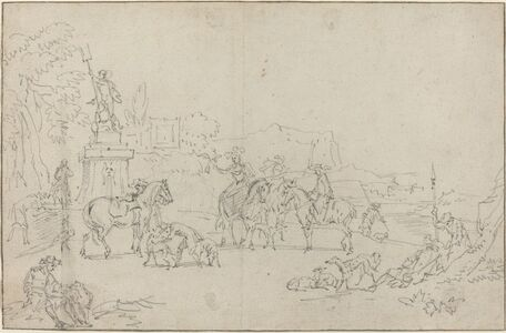 Peeter Bout, 'An Elegant Hunting Party Resting by a Fountain', 1685