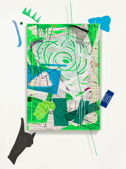 """Joan Reutershan, 'Green Pizza with Olives and Sticks (40°44'9.11"""" N, 73°59'27.9"""" W)', 2020"""