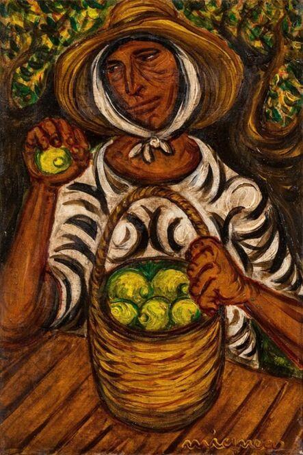 Giuseppe Migneco, 'Contadina con limoni', 1970