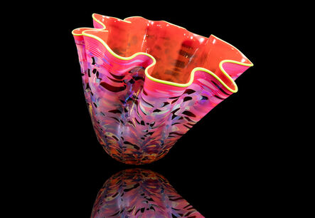 Dale Chihuly, 'Dale Chihuly Large signed Portland Press series Ruby Macchia Handblown Glass Art', 2000