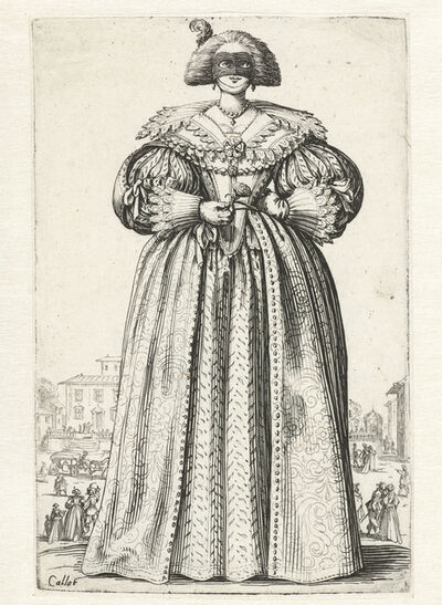 Unknown Artist, 'Dame met masker en bloem, van voren gezien (Lady with mask and flower, seen from the front)'