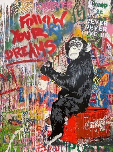 Mr. Brainwash, 'Everyday Life - Follow Your Dreams   Unique Mixed Media and Stencil on paper.', 2020