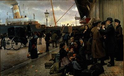 Edward Petersen, 'Udvandrere på Larsens Plads', 1890