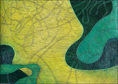 Diana Moore, 'Rotating Lines (Yellow Field Area)'