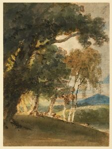 Thomas Girtin, 'A River Valley and Distant Hill Seen through Trees', ca. 1800