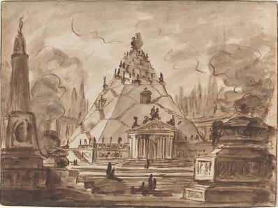 Charles Michel-Ange Challe, 'Architectural Fantasy with a Pyramidal Mausoleum', ca. 1747