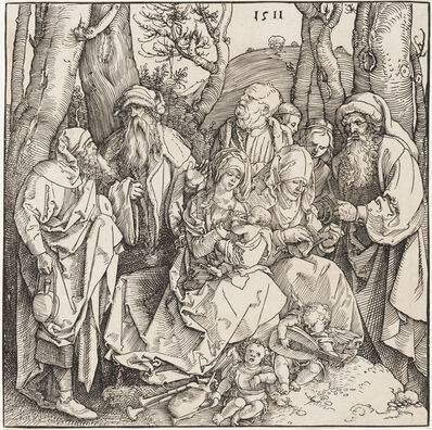 Albrecht Dürer, 'The Holy Family with Two Musical Angels', 1511