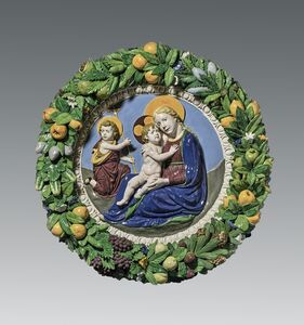 Luca della Robbia the Younger, 'The Virgin and Child and the Young Saint John the Baptist (The Madonna of Humility, or Madonna of the Meadow), within a garland of fruit and flowers', ca. 1510