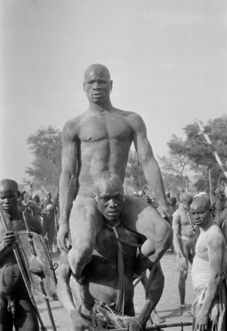 George Rodger, 'Victor of the Korongo Nuba wrestlers. Kordofan, Southern Sudan', 1949