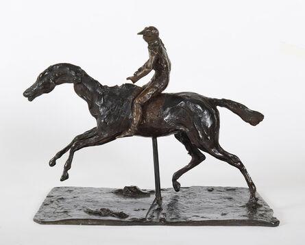Edgar Degas, 'Cheval au galop sur le pied droit, le pied gauche arrière seul touchant terre ; jockey monté à cheval', 0