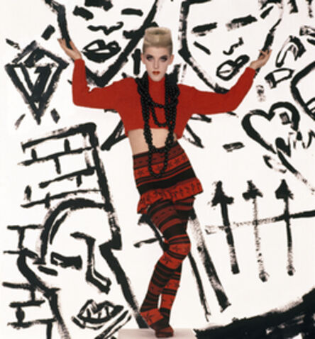 'Bodymap, A/W 1984, Cat in the hat takes a rumble with a techno fish. Model: Scarlett Cannon', 1985