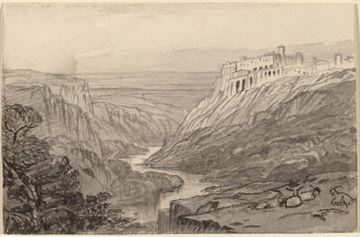 Edward Lear, 'Goats Resting above a River Gorge (Narni, Italy)', 1884/1885