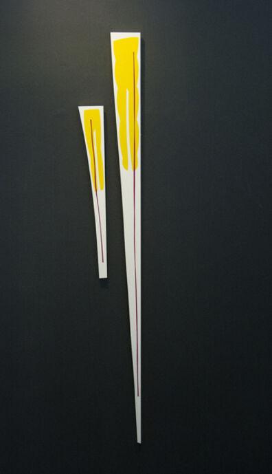 Aron Hill, 'Yellow Magenta 1 & 2 - fun, colourful, gold leaf edge, acrylic on shaped panel', 2017