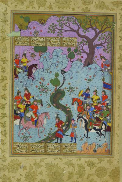 'Piran Recounts His Defeat to Afrasiyab, folio 110b from the Peck Shahnama', 1589-1590