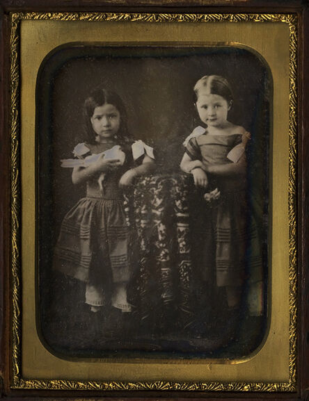 Daguerreotypes, 'Two Younger Daughters, Holding Dove and Flowers/Young Mother with Two Daughters', 1850s/1850s