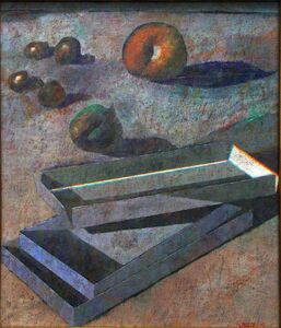 Armando Morales, 'Still-life (Four olives, fig, apple and boxes)', 1991