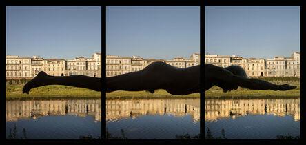 Arno Rafael Minkkinen, 'ARNO ON THE ARNO, Swimming from the Consolato Generale degli Stati Uniti to the Ponte Amerigo Vespucci at 1966 flood levels. Triptych', 2016