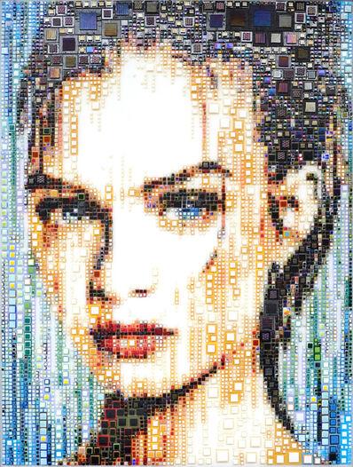"Isabelle Scheltjens, '""Ocean Eyes"" -- glass fusing, pointillism, dots, optical effects, pop art, pop culture, beauty, magical, aesthetic, model, celebrity', 2021"