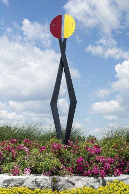 R. Clarke Ellis, 'Past Conversations - colourful, playful, abstracted figures, steel sculpture', 2020