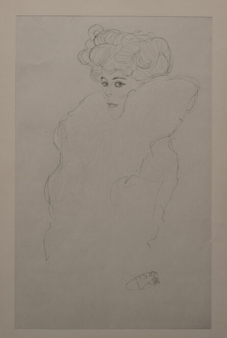 Gustav Klimt, 'Portrait Sketch: Lady with Boa (Red and White Tinted) - Niyoda Paper', 1919