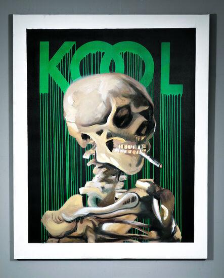 Zevs, 'KoolSkullof aSkeletonwith BurningCigarette. Green/Black', 2020