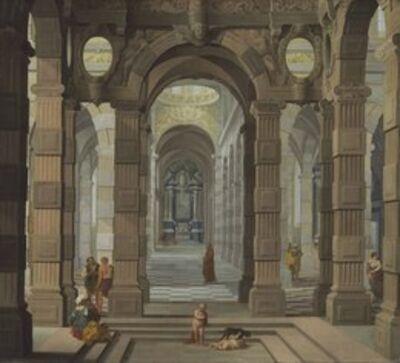 Dirck van Delen and Cornelis van Poelenburch, 'Interior of a Baroque Church with a friar and peasants'