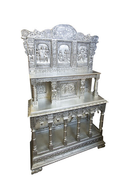Baroque/French/Germ/Flemish, 'Hand Carved Silver Leaf Oak Cabinet', 1600's