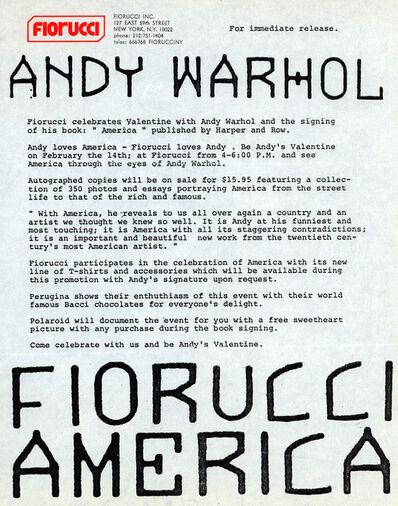 Andy Warhol, 'Andy Warhol Fiorucci Press Release 1986 (Andy Warhol America)', 1986