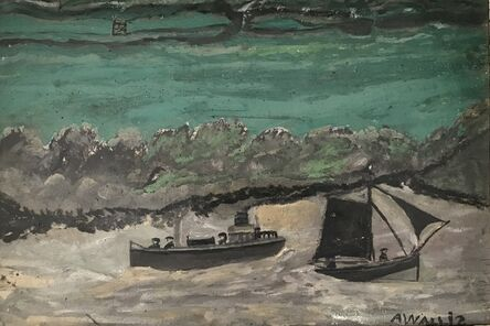 Alfred Wallis, 'Cutter and Sail Boat in Grey Harbour with green sea and shore with gate behind'
