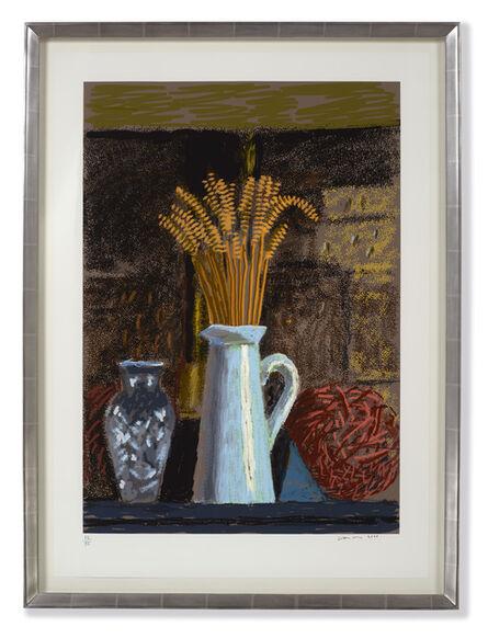 David Hockney, 'Glass Vase, Jug and Wheat', 2020