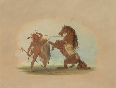 George Catlin, 'A Pawnee Warrior Sacrificing His Favorite Horse', 1861/1869