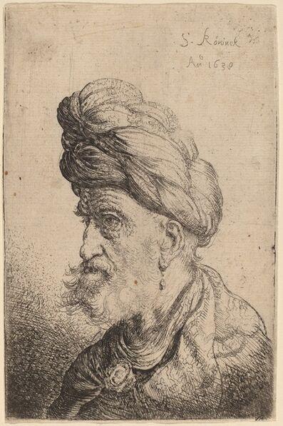 Salomon Koninck, 'Bust of a Man with a Turban Facing Left', 1638