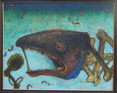 Chhatrapati, 'Hungry fish in water, acrylic in green, grey & black color by Contemporary Indian Artist Chhatrapati Dutta', 2007