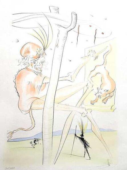 "Salvador Dalí, 'Original Engraving ""Monkey and Leopard"" by Salvador Dali', 1974"