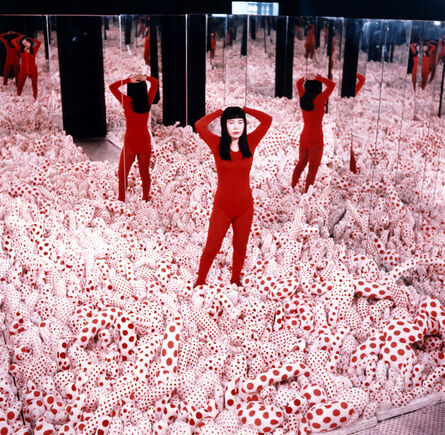 """Yayoi Kusama, ' Installation view of Kusama in Infinity Mirror Room - Phalli's Field, at her solo exhibition """"Floor Show"""" at R. Castellane Gallery, New York', 1965"""