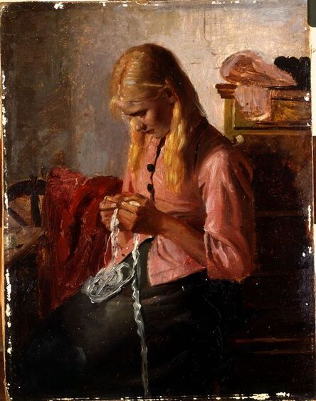 Michael Peter Ancher, 'Young Girl Crocheting ', 1879-1881