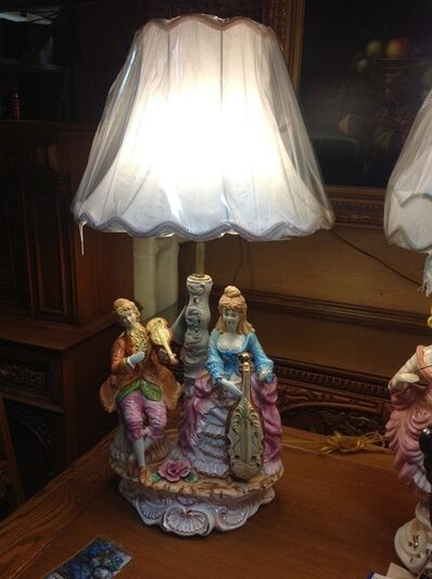 French Provincial/Italian Baroque, 'Capodimonte Lamp and Shade', 1990's