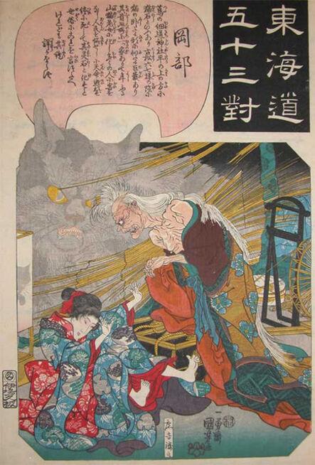 Utagawa Kuniyoshi, 'Spirit of the Cat Woman: Okabe', ca. 1842