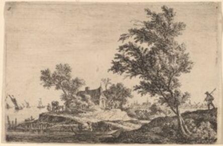Anthonie Waterloo, 'Traveler Passing Two Large Trees'