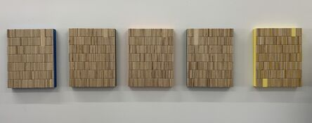 """Jean Wolff, '5 Rods (5 Rods (Cyan, Emerald Green, Orange, Gray and Yellow) acrylic on wood on panel, 14"""" x 11"""" each ', 2021"""