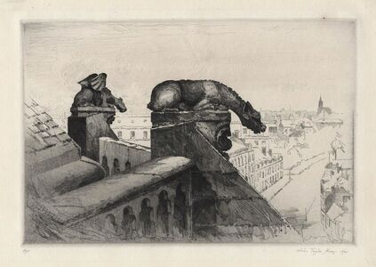 John Taylor Arms, 'Guardians of the Spire.  (Amiens Cathedral Number Two) and (Gardiens de la Fleche, Amiens.)', 1921