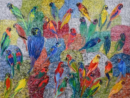 Hunt Slonem, 'Birds Hidden Butterflies & Guardians', 2021