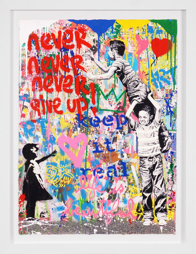 Mr. Brainwash, ''Never Give Up' Street Pop Art, Unique Painting ', 2021